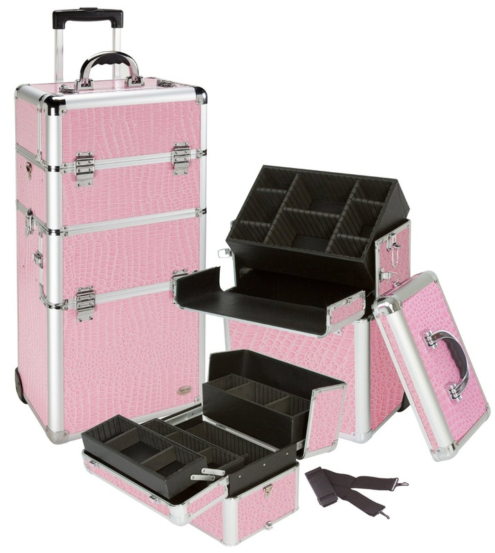 Pink Rolling Makeup Case